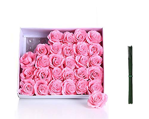 (Hecaty Artificial Glitter Rose Flowers,30pcs Real Looking Shining Roses with Stem,DIY Wedding Bouquets Centerpieces Arrangements Party Baby Shower Party Home Decorations(Glitter Pink))
