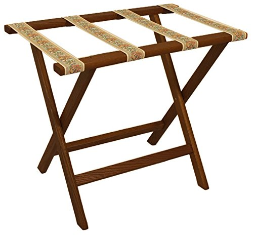 Deluxe Tapestry (Wooden Mallet Deluxe Straight Leg Luggage Rack, Mahogany, Tapestry Straps)