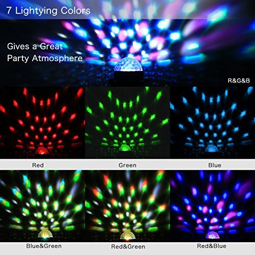 YiYiBa Party Lights,Disco Ball DJ Lights RGB Stage Lighting Strobe LED 11 Color Changing Sound Activated Magic Ball Effect Strobe Lights with Remote Control For Dj Club Bedroom Kids Birthday(2 PACK)