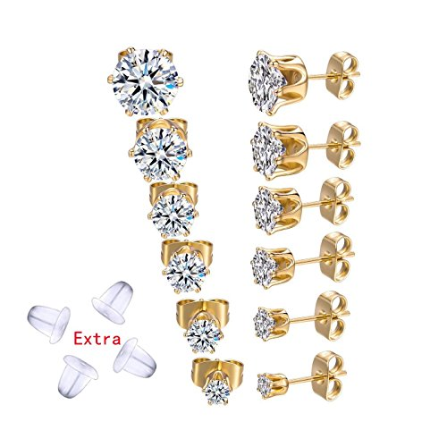 6 Pairs 18K Gold Plated Rose Gold Plated Silver Round Clear Cubic Zirconia Stud Earrings for Women Men(3-8MM)