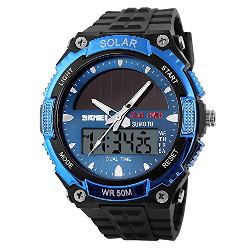 Fanmis Men's Solar Powered Casual Quartz Watch Digital & Analog Multifunctional Sports Watch Blue