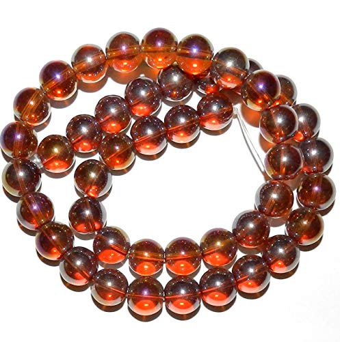 Bead Jewelry Making Golden Topaz Brown AB 10mm Round Glass Beads ()