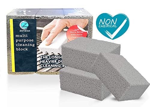 Grill Stone Cleaning Block | Cleaning Stone | Odorless & 100% Ecological | Removes Rust Grease Residues Stains & De-Scales | More Dense Material Lasts 33% Longer | A Must Have for All Homes. (3 Pack)