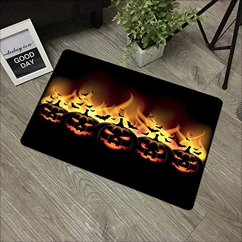 Bedroom door mat W31 x L47 INCH Vintage Halloween,Happy Halloween Image with Jack o Lanterns on Fire with Bats Holiday,Black Scarlet Our bottom is non-slip and will not let the baby slip,Door Mat Carp]()