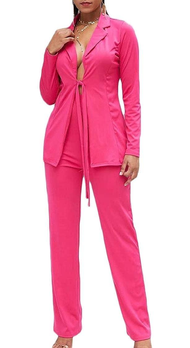 1 XQS Women's Long Sleeve Deep V Neck Blazer + Pants Set 2 Piece Outfit