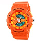 Fanmis Children Boys Girls Sporty Design Multifunctional Analog Digital Waterproof Wrist Watch Orange
