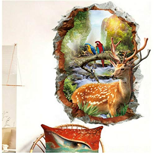 xilinglin Removable 3D Jungle Animals Large View Wall Sticker Kids Home Room Mural Wallpaper Decor Decals