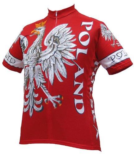 World Jerseys Men's Poland Cycling Jersey, Poland, Red, Large