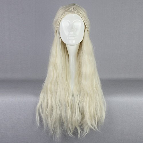 MOOI 29'' Building Game of Thrones Cosplay Wig Daenerys Targaryen khaleesi Barbarian Bride Costume Women's Braided Long Curly Wavy Hair Wig (Beige)