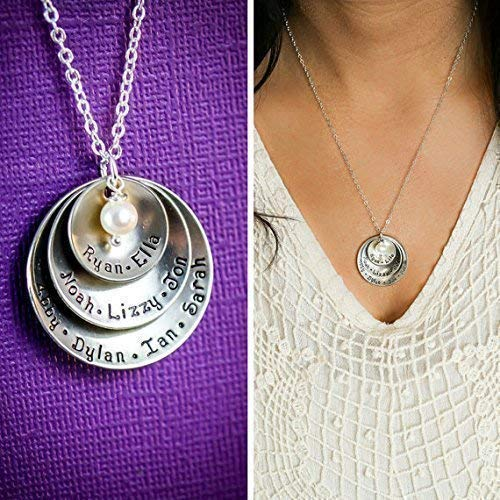 (Personalized Grandmother Necklace - DII ABC - Mom Gift - Handstamped Handmade - 5/8 7/8 1 1/8 inch Cupped Discs - Custom Birthstone)