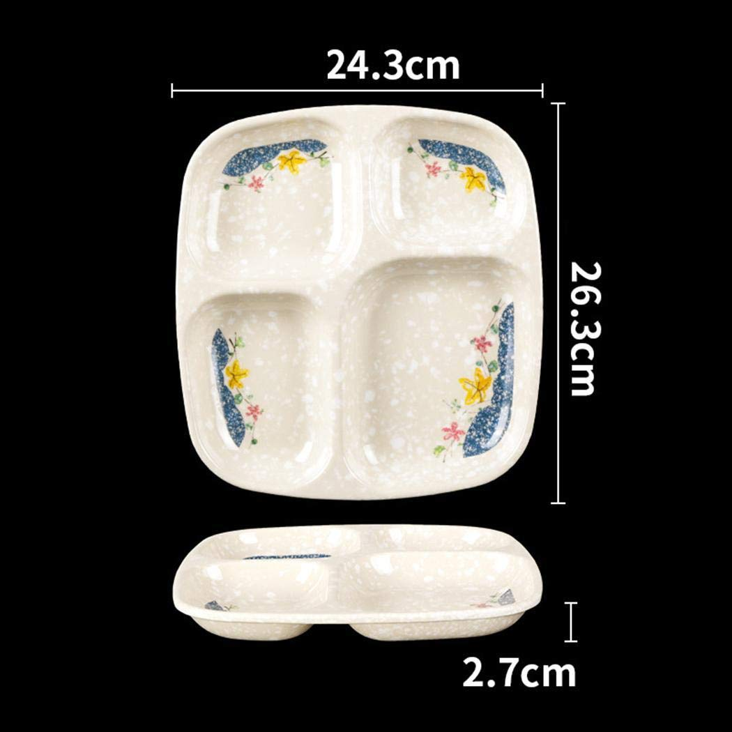 Ankidz Durable Practical Corrosion Resistant Four Grids Plate Canteen Plate Dinner Plates