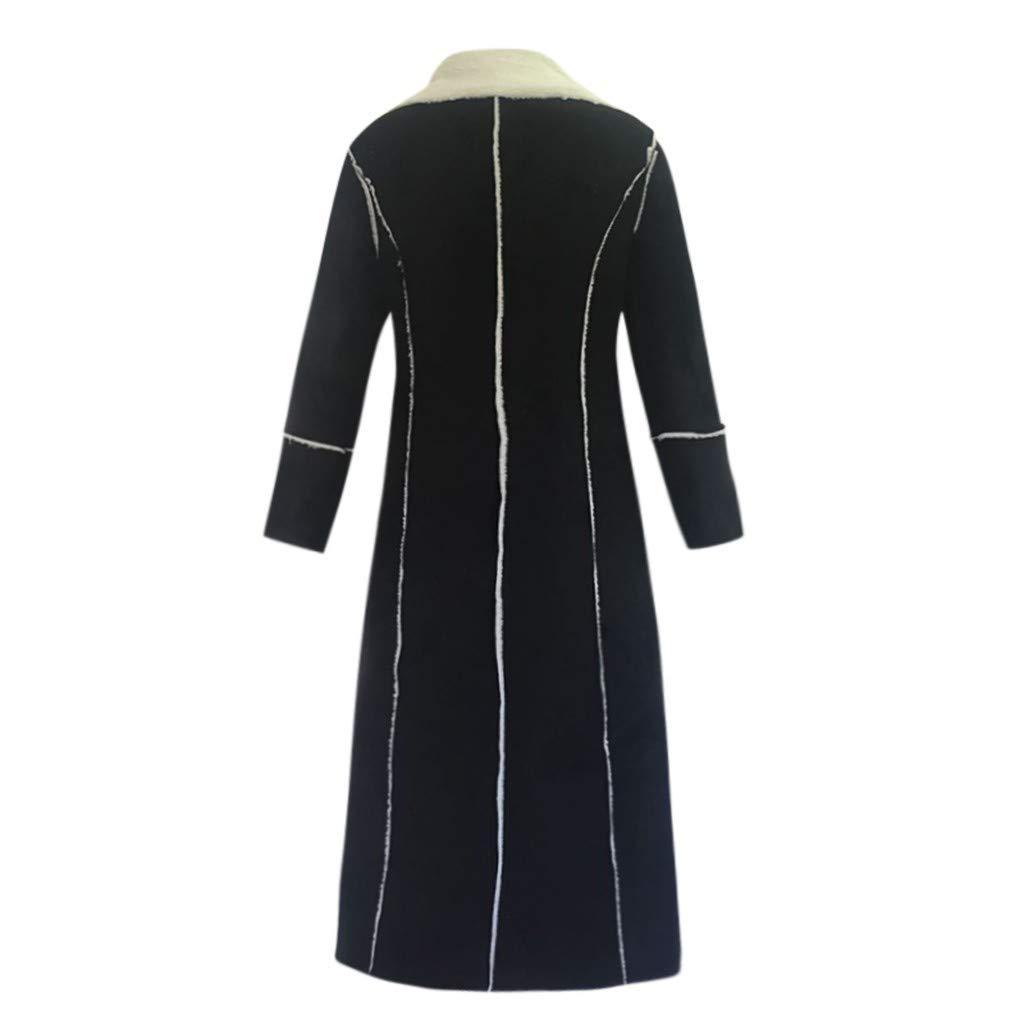 Women Plush Long Jacket Winter Fashion Cardigan Black Warm Coat Long Sleeve Windbreaker DongDong
