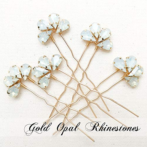 Aegenacess 5Pcs Rhinestones Crystal Hair Pins for Wedding Flower Floral Clips Bobby Decorative Headpieces Bridal Accessories Bridesmaids Brides Gift (Gold Opal) – The Super Cheap