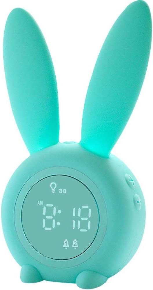 Moozic Lindo Reloj Despertador, Despertador De Conejo, 6 Sonidos Fuertes, Luz Nocturna Programada, con Pantalla De Temperatura, Niños, Niñas, Bebés, Habitaciones para Niños
