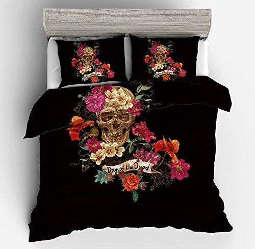Gorgeous Skull Cotton Microfiber 3pc 104''x90'' Bedding Quilt Duvet Cover Sets 2 Pillow Cases King Size by DIY Duvetcover