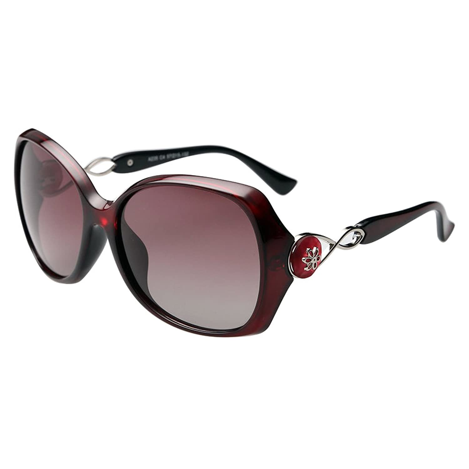 Burgundy Womens Retro Vintage Polarized Designer Sunglasses Fashion Eyewear Shades JU