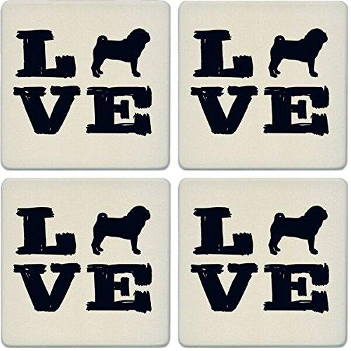 Coaster Pug (CoasterStone Absorbent Coasters (Set of 4), Pet Love Pug, 4-1/4