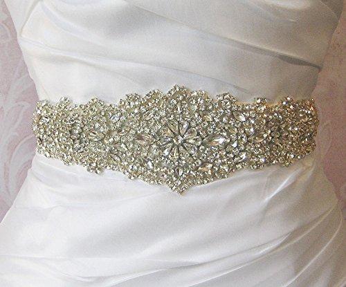 Trlyc Wedding Dress Belt Sash - Crystal Beaded Bridal Belt Sash - Rhinestone Wedding Gown Sash - Crystal Rhinestone Belt - Felicie (Beaded Sash)