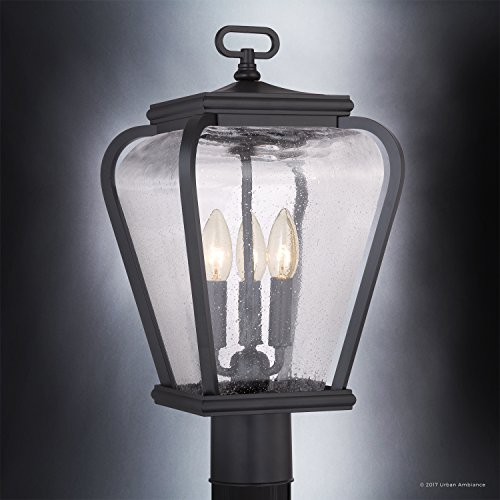 Luxury French Country Outdoor Post Light, Medium Size: 18''H x 9.5''W, with Mediterranean Style Elements, Soft and Simple Design, Inky Black Silk Finish and Seeded Glass, UQL1203 by Urban Ambiance by Urban Ambiance (Image #2)