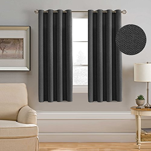 H.Versailtex Thermal Insulated Room Darkening Rich Quality of Textured Linen Like Bedroom Curtains for Small Window,Antique Grommet Panel,52 by 63 - Inch-Charcoal Gray (Set of 1)