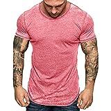 Hosamtel Men Short Sleeve T-Shirt Solid Zipper Side Slim Fit Fashion Casual Summer Workout Sport Tee Shirt Blouse Tops Pink