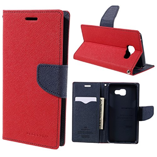 bestbuy-24 Flip-case bookstyle fancy mercury mit holder-Funktion für smartphone handy Samsung Galaxy-A3 2017 (A320), Hülle Etui Magnetverschluß, rot