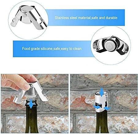 Juego De Tapones De Botella Reutilizable Tapón De Botella De Acero Inoxidable Espumoso Tapón Para Vacío Champagne Para Mantener Las Burbujas De Tu Fizz Colección De Vinos Cerveza,Plata(4 Piezas)