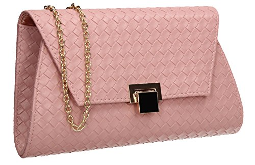 SWANKYSWANS Tyler Flapover Weave Party Prom Wedding Night Out Celebrity Ladies Evening Clutch Bag Pink