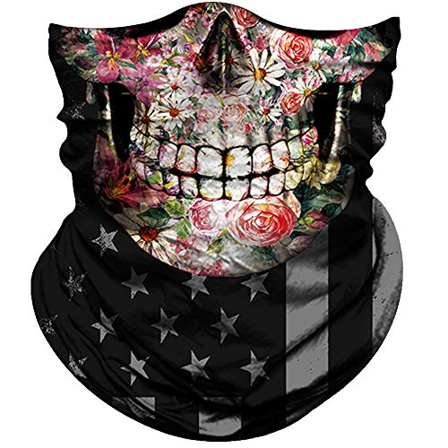 Skull Face Mask for Women Men Dust Wind UV Sun Protection Seamless Bandana Face Mask for Rave Festival Motorcycle Riding Biker Fishing Hunting Outdoor Running (Skull Pink Flower Face Black Eye Flag)