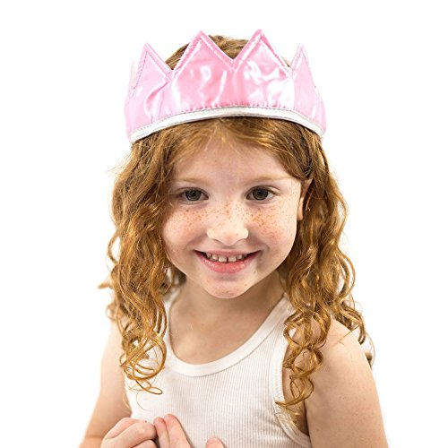 Everfan Pink Satin Crown - Royal Princess, Prince, King, Queen, Dress Up Costume -