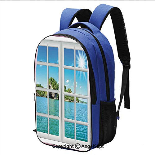 Backpack for School College Student Ocean View from the Window on Island in Sunny Summer Day Peace Relax Rest and Forget Theme Bookbag Business Travel Bag,Pink Blue