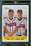 2007 Topps Heritage Baseball Card # 314 Chipper Jones / Bobby Cox Atlanta Braves - Mint Condition - In Protective Display Case