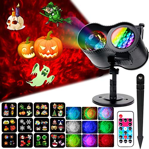 Halloween Light Displays 2019 (Ocean Wave Christmas Projector Lights, KOOT 2 in 1 Outdoor Waterproof Decoration Light with 12 Switchable Slides Pattern 10 Water Ripple Effect, Landscape Lights for Xmas Halloween Holiday)