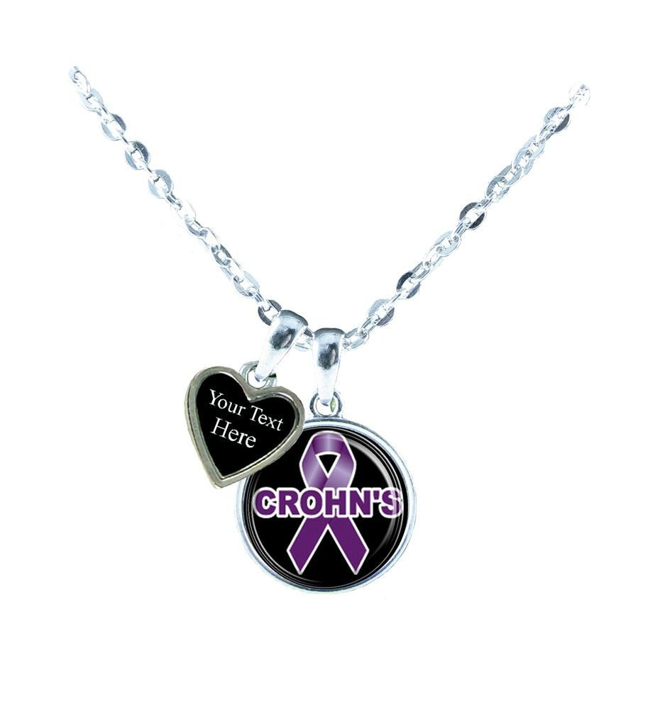 Holly Road Crohn's Disease Awareness Silver Chain Necklace Choose Your Text