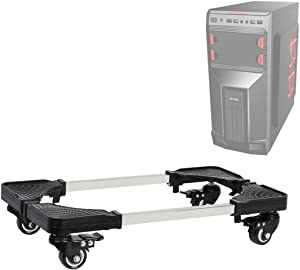 Computer CPU Stand, Adromy Mobile Desktop Tower Computer Floor Stand Rolling Caster Cart CPU Holder Adjustable Width Universal PC Computer Holder Cart with 4 Caster Wheels - Black