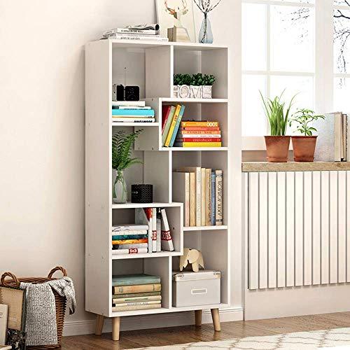 (CWJ Children's Bookshelf Space Saving Bookcases Modern Floor Book Shelf,Nordic Multi-Layer Rack Storage Rack Simple Student Bedroom Home Office Living Room Furniture Combination Storage Rack,White)