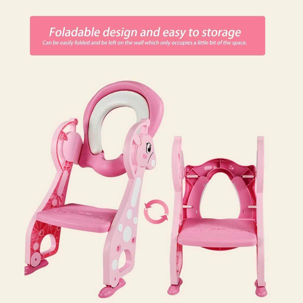 Toilettensitz f/ür Kinder verstellbar mit Hocker f/ür Jungen und M/ädchen rosa Toilette Trainer Toilettensitz mit Stufe