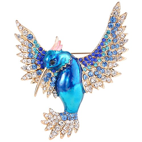 - EVER FAITH Women's Austrian Crystal Enamel Lovely Bird Animal Brooch Blue Gold-Tone