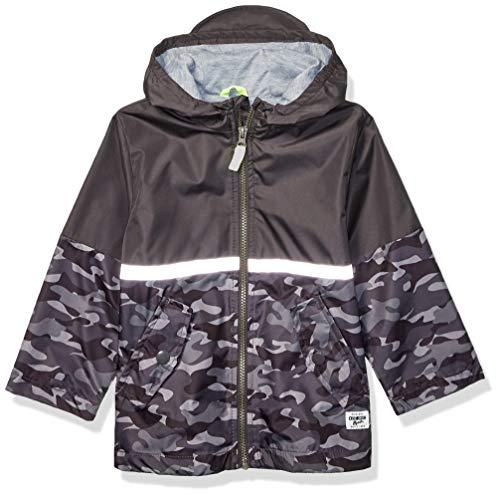OshKosh B'Gosh Boys' Toddler Perfect Rainjacket Rainslicker Raincoat, Gray with Reflective, 2T