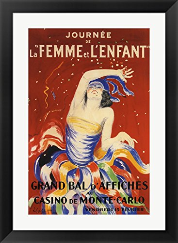Cappiello Framed Art (La Femme et L'enfant by Leonetto Cappiello Framed Art Print Wall Picture, Black Flat Frame with Hanging Cleat, 27 x 36)