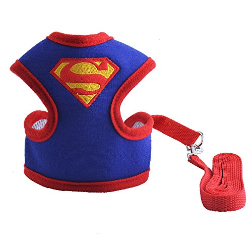 Small Dog Harness with Leash Set - Superman Puppy Costume