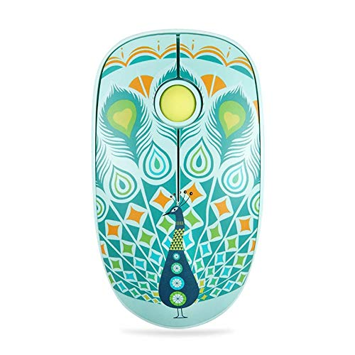 Ge Wireless Mouse - FD V8 Wireless Mouse (Battery Included), 2.4G Cute Colorful Animal Slim Silent Travel Cordless Mouse Optical Designed Mice with Nano Receiver Compatible for Laptop Computer PC Chromebook (Peacock)
