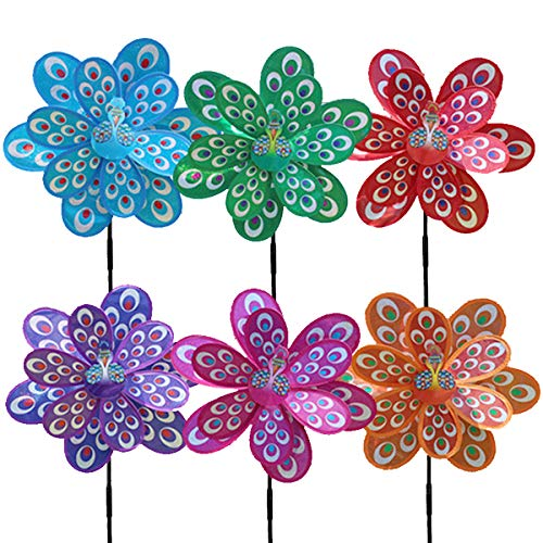 - YOUDO Wind Spinner Windmill Pinwheel, 6 Pack Waterproof Peahen Triple Spinner Garden Spinner Colorful Pinwheels Winnower for Your Yard Lawn, Perfect Toys Gift for Your Kids Children