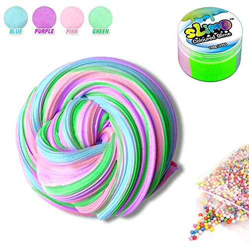Sisland Rainbow Fluffy Slime Floam Jumbo Colorful Slime, Stress Relief Putty Toy for Kids Boys and Girls, Non-Sticky Stretchy Scented 7 OZ -
