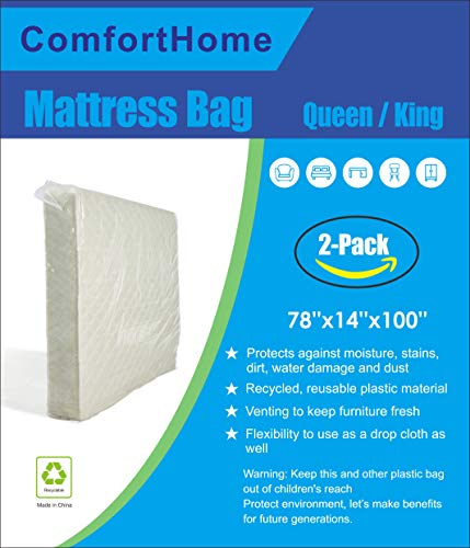 ComfortHome 2 Pack Mattress Bag For Moving and Storage, Quee