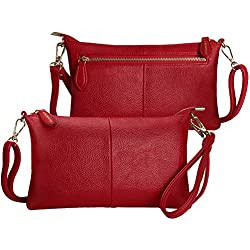 S SUNINESS Women RFID Crossbody Bags - Ladies Sling Purse Lightweight Leather Wallet Wristlet Bags (Red with Pebble Pattern)