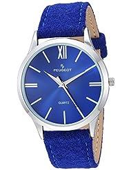 Peugeot Womens Slim Case Quartz Metal and Canvas Casual Watch, Color:Blue (Model: 2058BL)