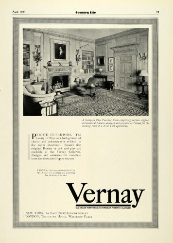 1931 Ad Vernay New York Apartment Georgian Pine Panel Interior Design Furniture - Original Print Ad Pine Glassware