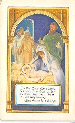 Christmas Post Card Old Vintage Antique Xmas Postcard Religion Writing on back