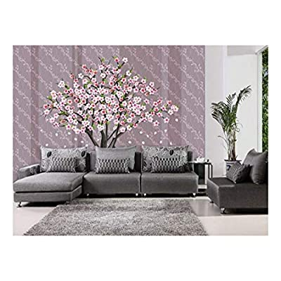 Pretty Cherry Blossom Tree on a Striped and Floral Patterned Background - Wall Mural, Removable Sticker, Home Decor - 100x144 inches